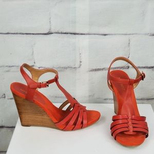 Nine west strappy wedges 4 inch heels